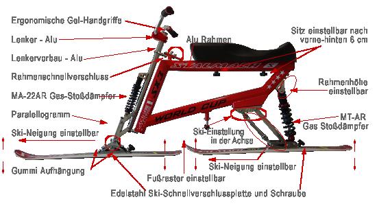 worldcup sx3 details. Der Snowbike World Cup kann auch mit dem Instruktor Lenker gekauft werde. Der Skibob ist höhenverstellbar. Bestens zum Skibob Fahren geeignet. Der Skibob ist für die Anfänger, Fortgeschrittenen und Snowbike Profis geeignet. Der Skibob World Cup ist der beste Skibob, Snowbike sowie Skibike die man sich vorstellen kann. Snowbike World Cup hat sehr viele Einstellungssysteme wie; Sitzverstellbar nach vorne und hinten. Rahmen nach oben und unten verstellbar. Skineigung einstellbar. Dieser Snowbike hat sehr gute Gas-Stoßdämpfer die beliebig einstellbar sind. Der Skibike Lenker aus Aluminium ist einstellbar. Die Snowbike Ski haben eine Bindung namens Schnellverschlussplatten. Dieser Snowbike ist aus Edelstahl und Aluminium gebaut. Dieses Wintersportgerät ist gut für Menschen mit Behinderung geeignet. Auch Personen mit Handicap nutzen diesen Snowbike. Besuchen Sie unsere Skibob Schule, Snowbike Schule, Skibike Akademie mit den besten Snowbike Lehrer. Wintersport Barriere frei. Wintersport für Menschen mit Behinderung. Snowbike Sport für Personen mit Handicap